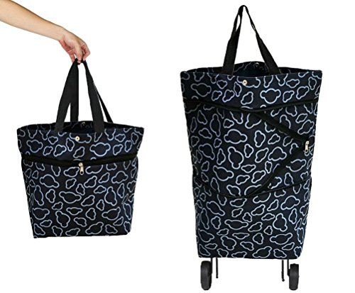 Cocobuy Collapsible Trolley Bags Folding Shopping Bag with Wheels Shopping Trolley Foldable Shopping Cart Grocery Bags Traveling Bag (Black) - Folding Wheeled Cart