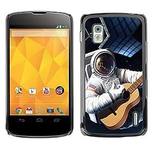 TopCaseStore / la caja del caucho duro de la cubierta de protección de la piel - Astronaut Russia Flag Guitar Space Suit Travel - LG Google Nexus 4 E960