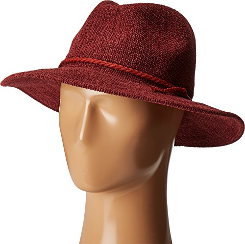 San Diego Hat Company Women's CTH8078 Knit Fedora With Braided Faux Suede Wine Hat