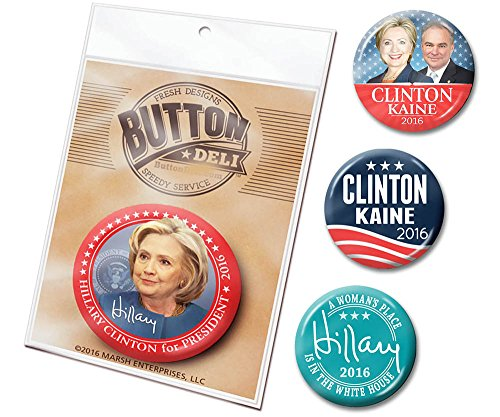 Marsh Enterprises - 4-Pack Hillary Clinton Tim Kaine Pin Buttons - 2016 with Modern Photo Jugate and Signature