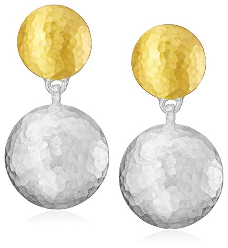 GURHAN ''Lentil'' Post Short-Drop White Silver with Gold Lentil Earrings by Gurhan