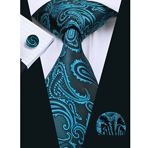 for Men Pocket Set Paisley Teal Tie Tie Hi and Tie Teal Check 5 Neckties Square PqBHY