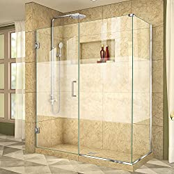 DreamLine Unidoor Plus 58 1/2 in. W x 34 3/8 in. D x 72 in. H Frameless Hinged Shower Enclosure, Frosted Band, Chrome, SHEN-24585340-HFR-01