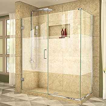 DreamLine Unidoor Plus 53 1/2 in. W x 34 3/8 in. D x 72 in. H Frameless Hinged Shower Enclosure, Frosted Band, Chrome, SHEN-24535340-HFR-01
