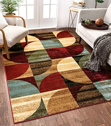 Well Woven Mid Century Modern Multicolor Geometric Modern 6×9 (6'7″ x 9'6″) Area Rug Abstract Contemporary Color Block Boxes Soft Living Dining Room Rug