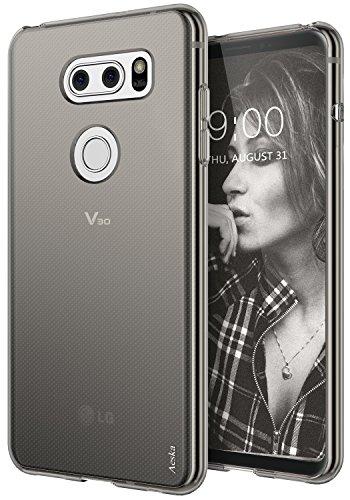 LG V30 Case, Aeska Ultra [Slim Thin] Flexible TPU Gel Rubber Soft Skin Silicone Protective Case Cover For LG V30 / LG V30 Plus (Smoke Black)