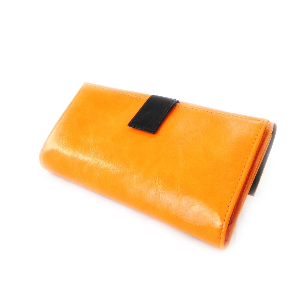 Wallet + checkbook holder leather ''Frandi'' orange black lacquer. by Les Tresors de Lily