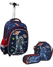 Wenlia Rolling Rugzak, Potlood Case Lunch Bag 3 in 1 Student Boekentas, Astronaut Trolley tas Dinosaurus School Tas voor Jongens Meisjes Jeugd Student