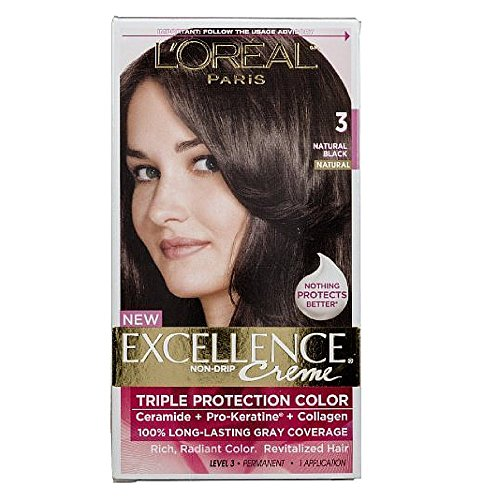 Oreal Creme (L'Oréal Paris Excellence Créme Permanent Hair Color, 3 Natural Black)