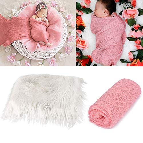 Aniwon 2Pcs Baby Photo Props Long Ripple Wraps DIY Blanket Newborn Wraps Photography Mat for Baby Boys and Girls (Pink&Milk White) -