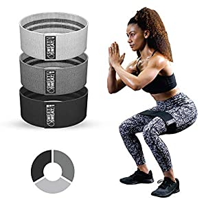Sweet Sweat Resistance Hip Bands with 3 Levels of Resistance   Non-Slip Fabric Booty Bands for Squats & Lunges   Includes Free Mesh Carrying Bag