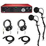 Focusrite Scarlett 8i6 3rd Gen 8x6 USB Audio Interface Podcast Bundle with, 2 Microphones, 2 Headphones, 2 Studio Stands, 2 XLR Cables, and 2 Pop Filters (11 Items)