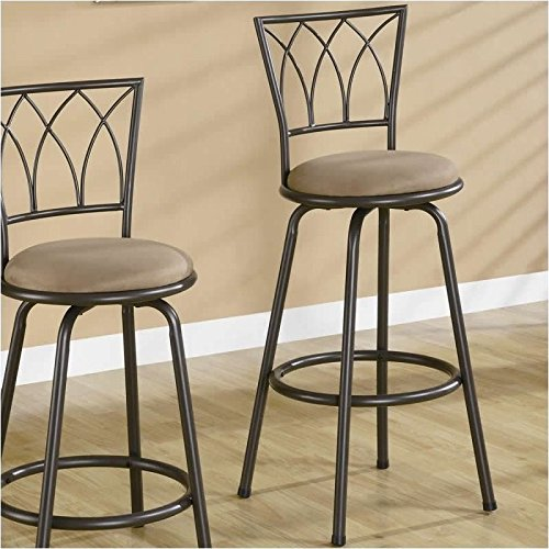 29 in. Metal Barstool w Upholstered Seat - Set of 2