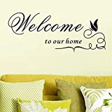 trfhjh Quotes Wall Sticker Home Art Welcome to Our Home Vinyl Wall Stickers Quotes Living Room Home Indoor Wall Art Decor DIY Black Decals DecorationFor Bedroom Living Room Kids Room