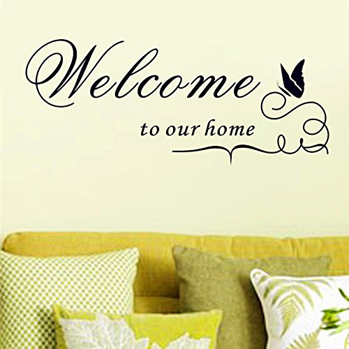 trfhjh Quotes Wall Sticker Home Art Welcome to Our Home Vinyl Wall Stickers Quotes Living Room Home Indoor Wall Art Decor DIY Black Decals DecorationFor Bedroom Living Room Kids Room by trfhjh