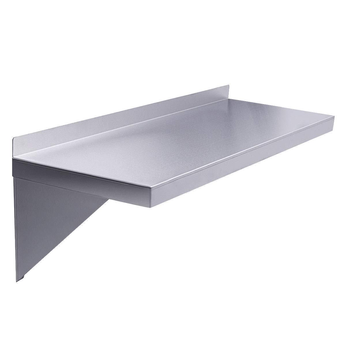 Caraya 12''X72'' Floating Wall Shelf Steel Restaurant Bar Kitchen Storage Wall shelf
