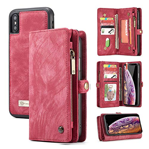 iPhone Xs Max Wallet Case,Zttopo 2 in 1 Leather Zipper Detachable Magnetic 11 Card Slots Card Slots Money Pocket Clutch Cover with Screen Protector for 6.5 Inch iPhone Case -Red