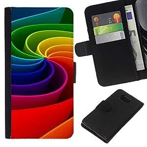 """Be-Star la tarjeta de CršŠdito Slots PU Funda de cuero Monedero caso cubierta de piel Para Samsung ALPHA G850 ( Arte colorido del arco iris de la rueda de movimiento 3D"""" )"""