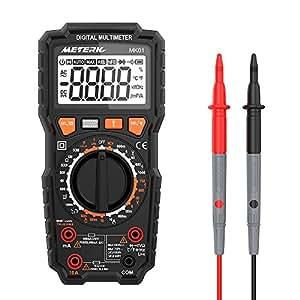 Multímetro Digital, Meterk 6000 Counts Medición de multímetro, True RMS Voltímetro con NCV y LIVE, Polimetro mide AC/DC voltaje y corriente Ohmímetro continuidad LCD Retroiluminada(MK01 Botón amarillo)