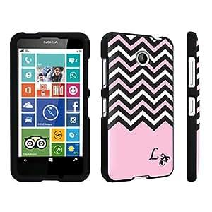 linJUN FENGDuroCase ? Nokia Lumia 630 Hard Case Black - (Black Pink White Chevron L)