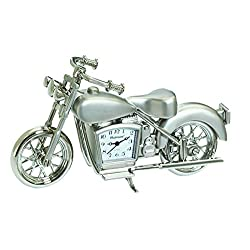 Sanis Enterprises Motorcycle Clock, 4-Inchx2.5-Inch, Silver