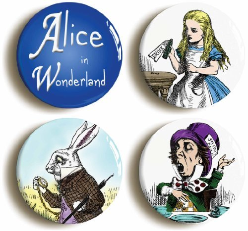 Mad Hatter Themed Costume Ideas (4 x Alice In Wonderland Buttons Pins (Size 1inch Diameter))