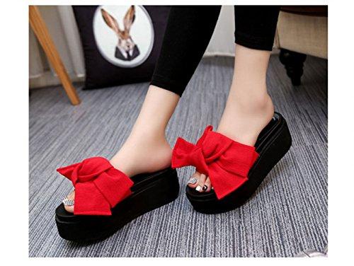 Tacon 35 Vinstoken Bowknot Playa Cuña 39 Plana Rosado Mujer Sandalia Negro Slip Zapatos Verano de 6cm Plataforma on Verde Rojo Rojo wWqCgqx7n