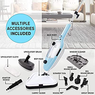 LINLUX Powerfresh Steam Mop 10-in-1 System, Laminate/Hardwood Floor Steam Cleaner, Carpet/Tile and Whole House Multipurpose Use