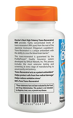 Doctor's Best Trans-Resveratrol 600, Non-GMO, Vegan, Gluten Free, Soy Free, 600 mg, 60 Veggie Caps by Doctor's Best (Image #2)