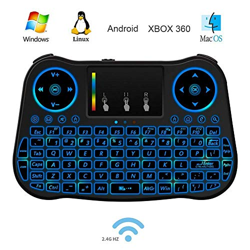 Mini Wireless Keyboard, Handheld Keyboard with Rainbow Backlit, Keyboard Remote for Smart TV,Android TV Box,HTPC,PS3,PC,Xbox 360