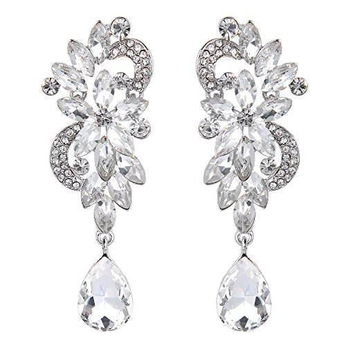 BriLove Women's Wedding Bridal Dangle Earrings Bohemian Boho Crystal Flower Chandelier Teardrop Bling Earrings Clear Silver-Tone