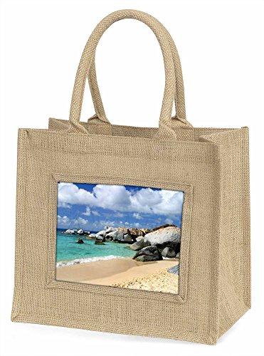 Advanta Tropical Seychellen Strand Große Einkaufstasche/Weihnachten Geschenk, Jute, beige/natur, 42x 34,5x 2cm
