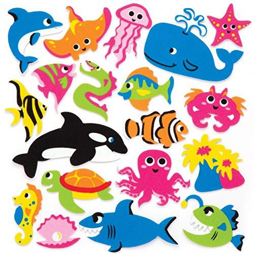 Baker Ross Sealife Foam Stickers (Pack of 120) Ocean Themed Puffy Scrapbook Stickers in Fun Foam Shapes