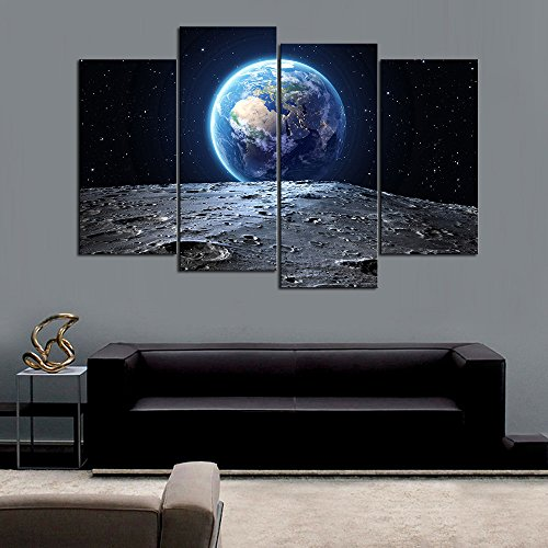 DINGDONG ART- Framed Galaxy Painting Abstract Earth View From Asteroid in Space Canvas Print Painting Still Life Earth Wall Art Picture for Living Room Decor 4 Pcs/Set (40cmx80cmx2pcs,40cmx100cmx2pcs) - Abstract Space Art