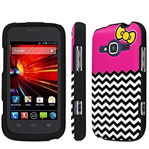 [NakedShield] T-Mobile Concord II 2 / ZTE Condord II 2 (Ribbon Chevron Hot Pink) Total Armor Snap-On Phone Case