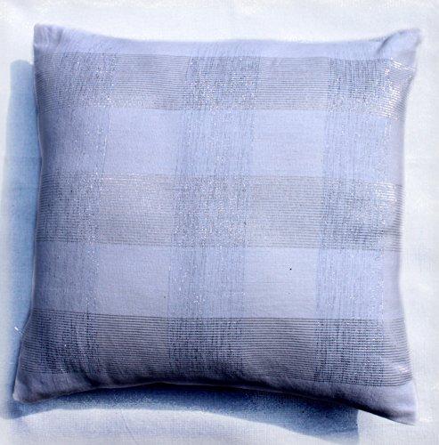 Blue Alcove Big Checks Lurex Cushion Cover – 16″x16, Silver