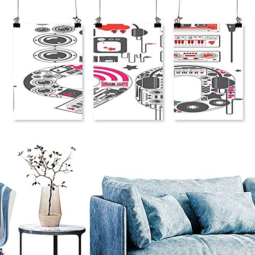 SCOCICI1588 3pcs Triptych 90s Groove Icon Stylish Cable Groovy Microphone Keyboard Instrument Art Home Decor No Frame 12 INCH X 16 INCH X 3PCS - Instrument Cable Cross