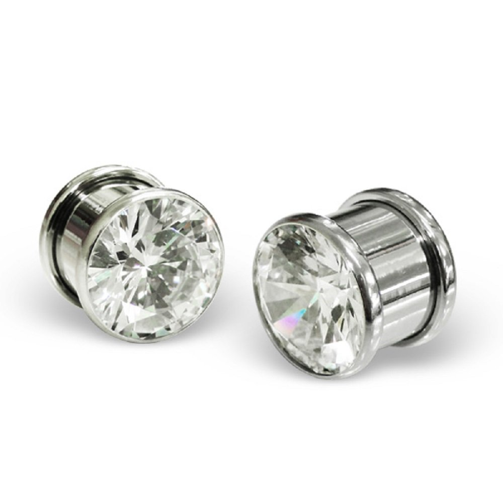 Stainless Steel Body Jewelry Dumbbell w/ Crystals Ear Plug 11446