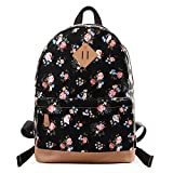 Epokris Girls Casual Floral School Lightweight Bookbag Backpack Black Deal (Small Image)