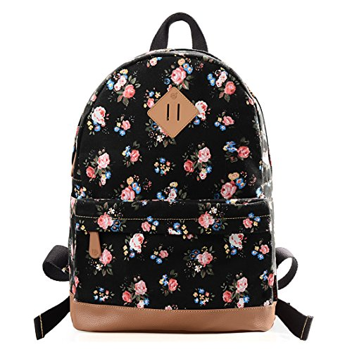 Floral Print Backpack - Epokris Girls Casual Floral School Lightweight Bookbag Backpack 133A-Black