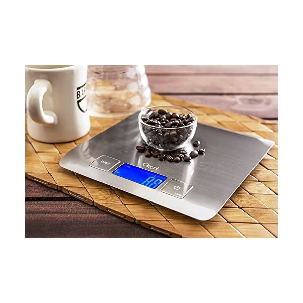 Zenith Digital Kitchen Scale by Ozeri, in Refined Stainless Steel with Fingerprint Resistant Coating 51NuOxC7GEL