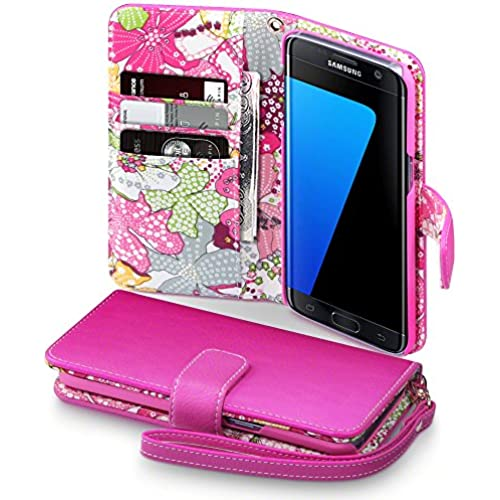 Galaxy S7 Edge Case, Terrapin [Pink] [Lily Floral Interior] Textured PU Leather Wallet Case with Card Slots Cash Sales
