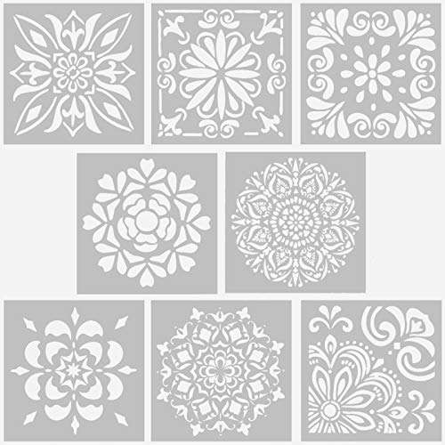 AQUEENLY Reusable Stencils, 6 x 6 Inch Laser Cut Painting Stencil for Art Painting on Tile, Wall, Floor, Fabric, Wood, Window - 8 Pcs Template for DIY Decor (8 Styles)