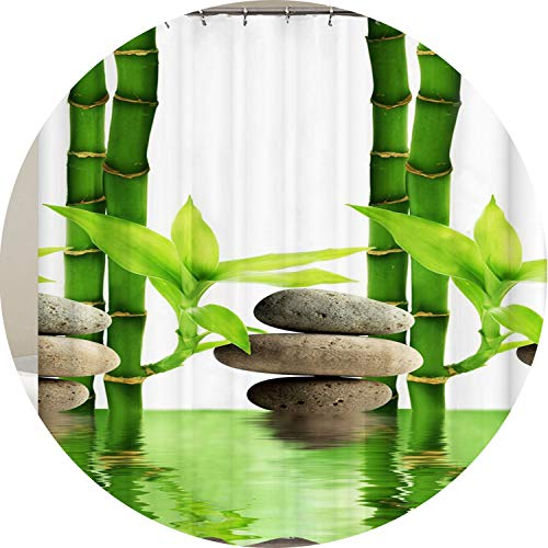 Heroic spirit Shower Curtains Bathroom Curtain Home Decor Green Yellow Garden Theme Bamboo Waterproof Show Curtain,Follow - Spirit Bath 69 Fixture