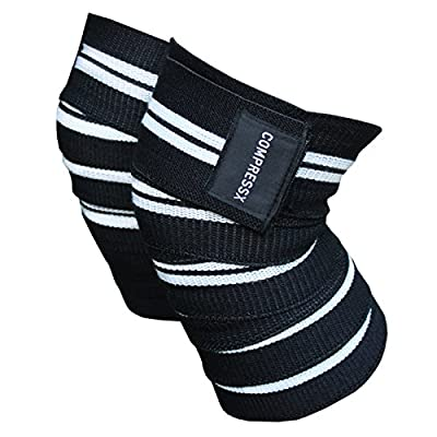 "COMPRESSX 72"" Knee Brace - Strong Velcro, Durable Stitching, Fully Adjustable Straps-Heavy Duty Elastic Compression Knee Wraps to Enhance Your Powerlifting, Weightlifting & CrossFit Workouts – Unisex"