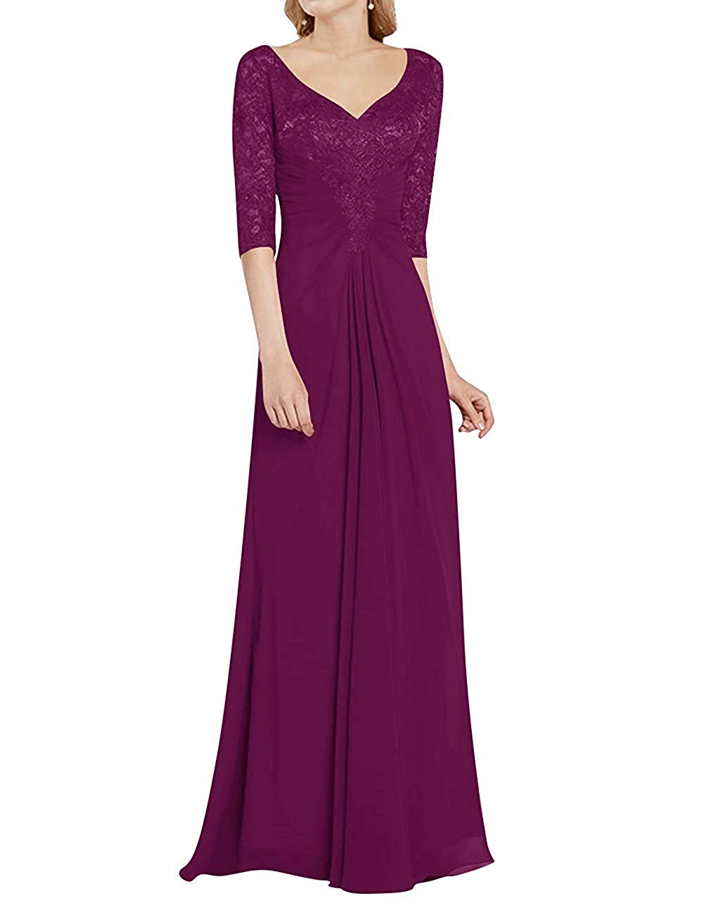Grape Mother of The Bride Dress with Half Long Sleeves Formal Evening Gownes Mother Dresses