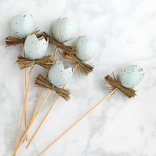 Factory Direct Craft Blue Artificial Cracked Eggs and Twig Floral Picks for Spring and Easter Decor 6 Picks
