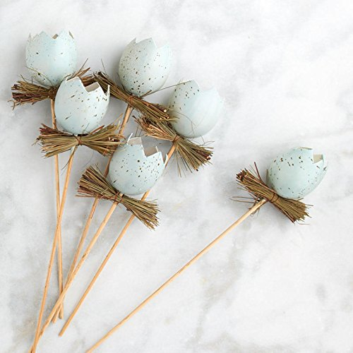 Blue Artificial Cracked Eggs and Twig Floral Picks for Spring and Easter Decor - 6 Picks ()