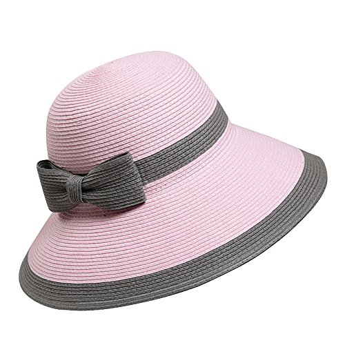[Women's Straw Sun Hat Wide Brim Floppy Hat UPF50+ Beach Cap 56-57cm - Pink] (Toddler Natural Leopard Costumes)