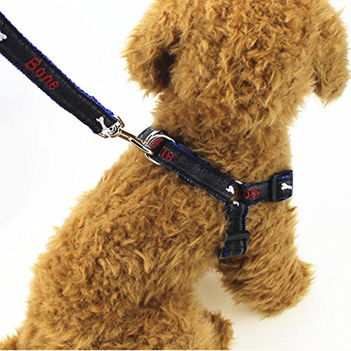 Fast and Good Dog Leash Harness, Adjustable and Heavy Duty Durable Denim Dog Leash Collar for Training Walking Running, Best for Medium/Small Dog (blue)